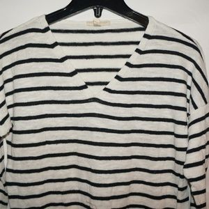 Eileen Fisher navy striped top